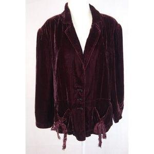 RALPH LAUREN Silk Blend Velvet Cranberry Jacket XL